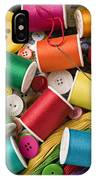 Spools Of Thread With Buttons IPhone Case by Garry Gay