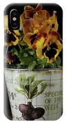 Spring Pansy Flowers In A Pail IPhone Case
