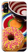 Sprinkled Donut On Circle Plate With Bowl IPhone Case