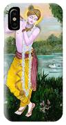 The Divine Flute Player, Sri Krishna IPhone Case