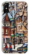 St Gabriel's Rectory  St Charles Church Rue Centre Pointe St Charles  Original Oil Painting Cspandau IPhone Case