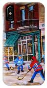 St. Viateur Bagel With Boys Playing Hockey IPhone Case