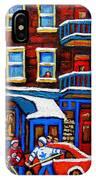 St Viateur Bagel With Hockey Montreal Winter Street Scene IPhone Case