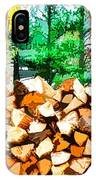 Stacked Fire Wood In Preparation For Winter 1 IPhone Case