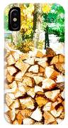Stacked Fire Wood In Preparation For Winter 2 IPhone Case