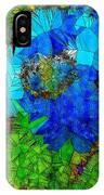 Stained Glass Blue Poppy One IPhone Case