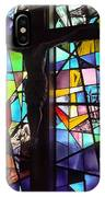 Stained Glass With Crucifix Silhouette IPhone Case