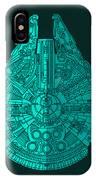 Star Wars Art - Millennium Falcon - Blue 02 IPhone Case