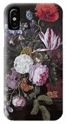 Still Life With Peonies Roses Irises Poppies And A Tulip With Butterflies A Dragonfly And Other Inse IPhone Case