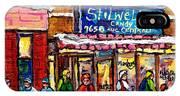Stilwell's Candy Shop Montreal Memories Lasalle Verdun Winter City Scene Hockey Art Carole Spandau   IPhone Case