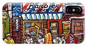 Stilwell's Candy Stop Winterscene Painting For Sale Montreal Hockey Art C Spandau Snowy Barber Shop IPhone Case