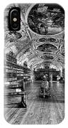 Strahov Monastery Theological Hall Bw IPhone Case