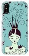 Strange Hairstyle And Flowery Swirls IPhone Case