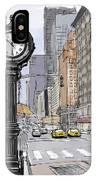 Street Clock On 5th Avenue Handmade Sketch IPhone Case