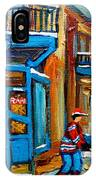Street Hockey At Wilensky's Montreal IPhone Case