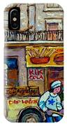 Street Hockey Pointe St Charles Winter  Hockey Scene Paul's Restaurant Quebec Art Carole Spandau     IPhone Case