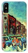 Streetscenes Of Montreal Hockey Paintings By Montreal Cityscene Specialist Carole Spandau IPhone Case