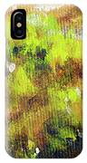 Structure Of Wooden Log Covered With Moss, Closeup Painting Detail. IPhone Case