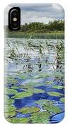 Summer Blue  Lake Under Clody Grey Sky With Forest On Coast IPhone Case