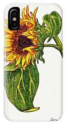 Sunflower In Gouache IPhone Case