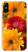 Sunflowers And Red Mums IPhone Case