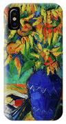 Sunflowers In Blue Vase IPhone Case