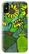 Sunflowers In Vase Green IPhone Case