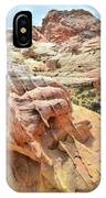 Sunlight On Colorful Boulder Above Wash 3 In Valley Of Fire IPhone Case
