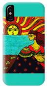 Sunrise At Beach Madhubani Painting IPhone Case