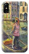 Sunset On Venice - The Gondolier IPhone Case