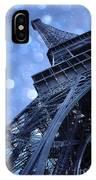 Surreal Blue Eiffel Tower Architecture - Eiffel Tower Sapphire Blue Bokeh Starry Sky IPhone Case