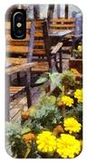 Tables And Chairs With Flowers IPhone Case