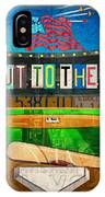 Take Me Out To The Ballgame Recycled Vintage License Plate Art Collage IPhone Case