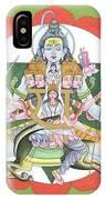 Tantrik Diagram Of Lord Shiva, Mantra Yantra ,indian Miniature Painting, Watercolor Artwork, India IPhone Case