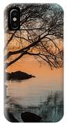 Teal And Orange Morning Tranquility With Rocks And Willows IPhone Case