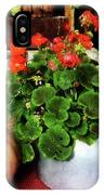 Teapot Filled With Geraniums IPhone Case