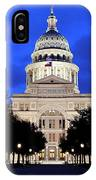 Texas State Capitol Floodlit At Night, Austin, Texas - Stock Image IPhone Case