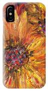 Textured Gold And Red Sunflowers IPhone Case