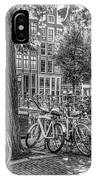 The Bicycles Of Amsterdam In Black And White IPhone Case