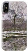 The Church At Vetheuil Under Snow IPhone Case