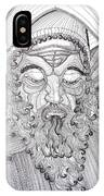 The Fool The King Original Black And White Pen Art By Rune Larsen IPhone Case