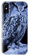 Majestic Great Horned Owl Blue Indigo IPhone Case