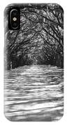 Live Oaks Lane With Shadows - Black And White IPhone Case