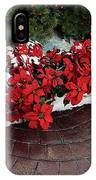 The Path To Christmas - Poinsettias, Trees, Snow, And Walkway IPhone Case