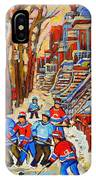 The Red Staircase Painting By Montreal Streetscene Artist Carole Spandau IPhone Case