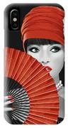 Woman With Paper Fan IPhone Case