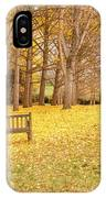 The Yellow Leaves Of Fall Carpet The Ground Of A Ginkgo Biloba Grove. Cm3 IPhone Case