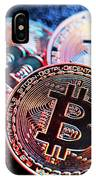 Three Bitcoin Coins In A Colorful Lighting. IPhone Case