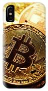 Three Golden Bitcoin Coins On Black Background. IPhone Case