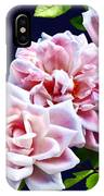 Three Pink Roses With Leaves IPhone Case